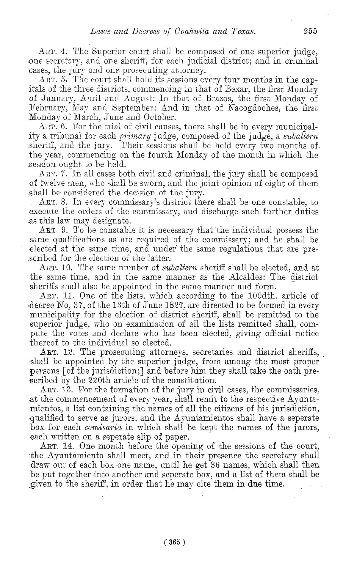 The Laws of Texas, 1822-1897 Volume 1                                                                                                      365