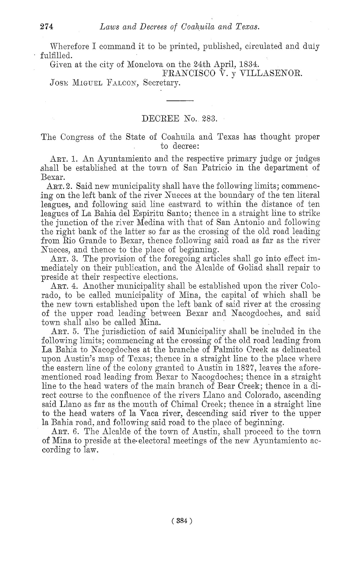 The Laws of Texas, 1822-1897 Volume 1                                                                                                      384
