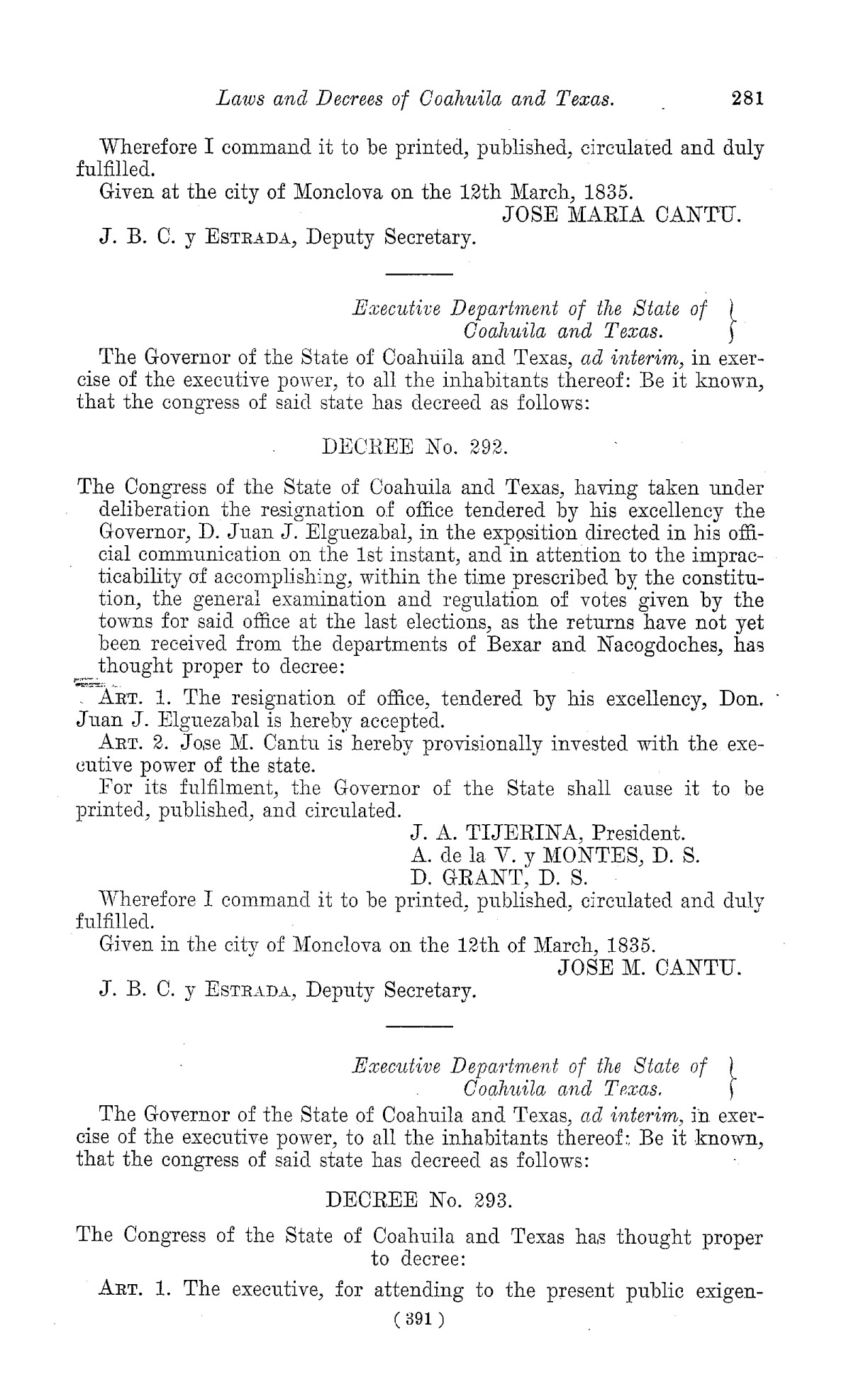 The Laws of Texas, 1822-1897 Volume 1                                                                                                      391