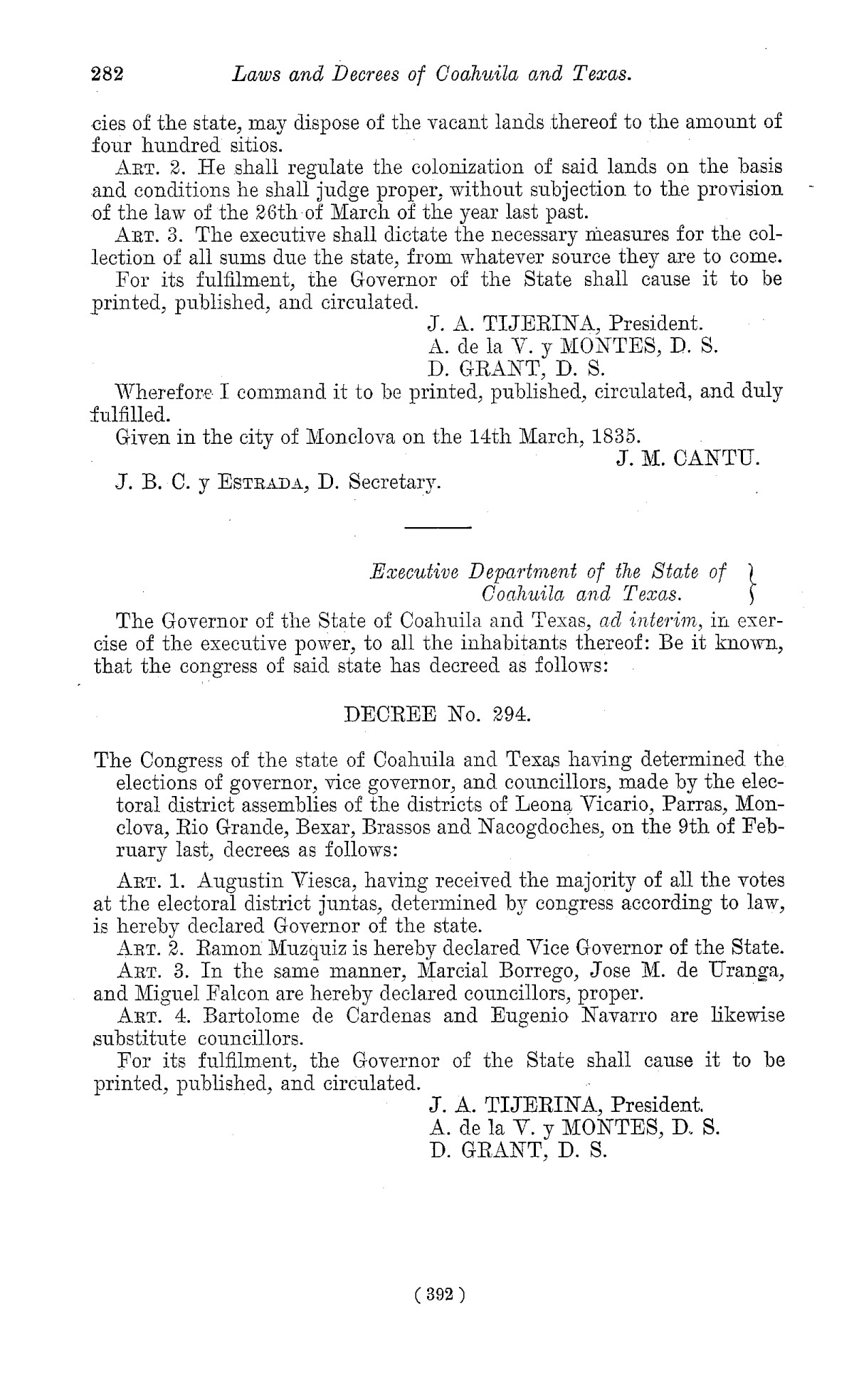 The Laws of Texas, 1822-1897 Volume 1                                                                                                      392