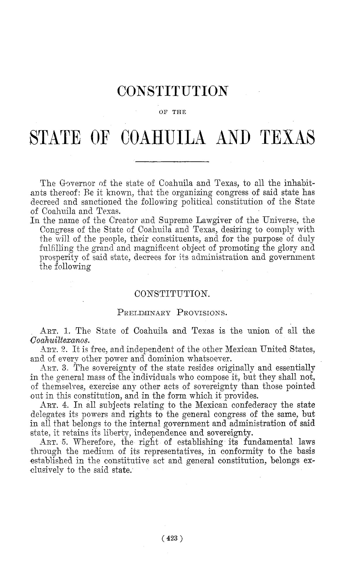 The Laws of Texas, 1822-1897 Volume 1                                                                                                      423