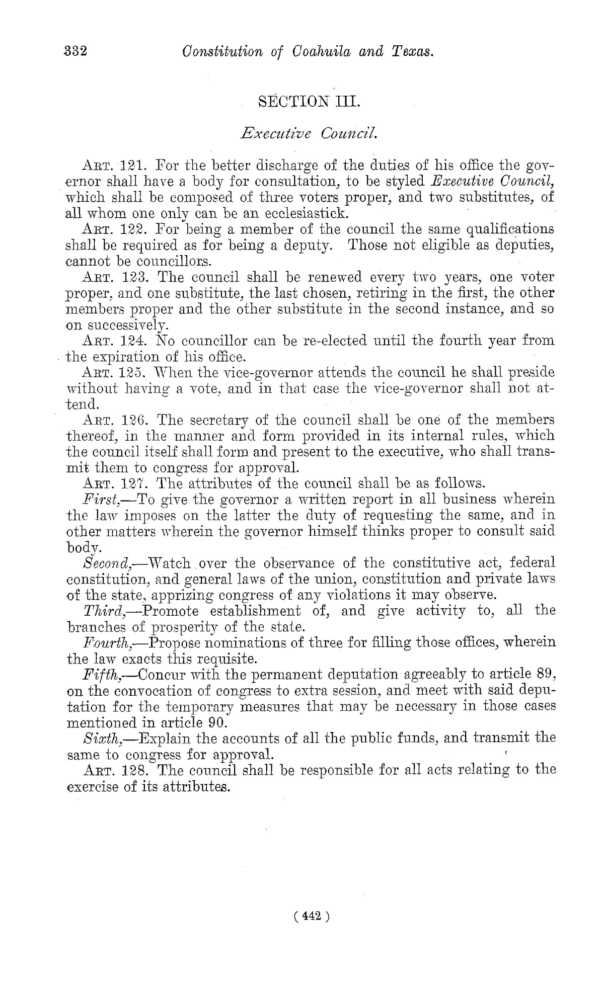 The Laws of Texas, 1822-1897 Volume 1                                                                                                      442