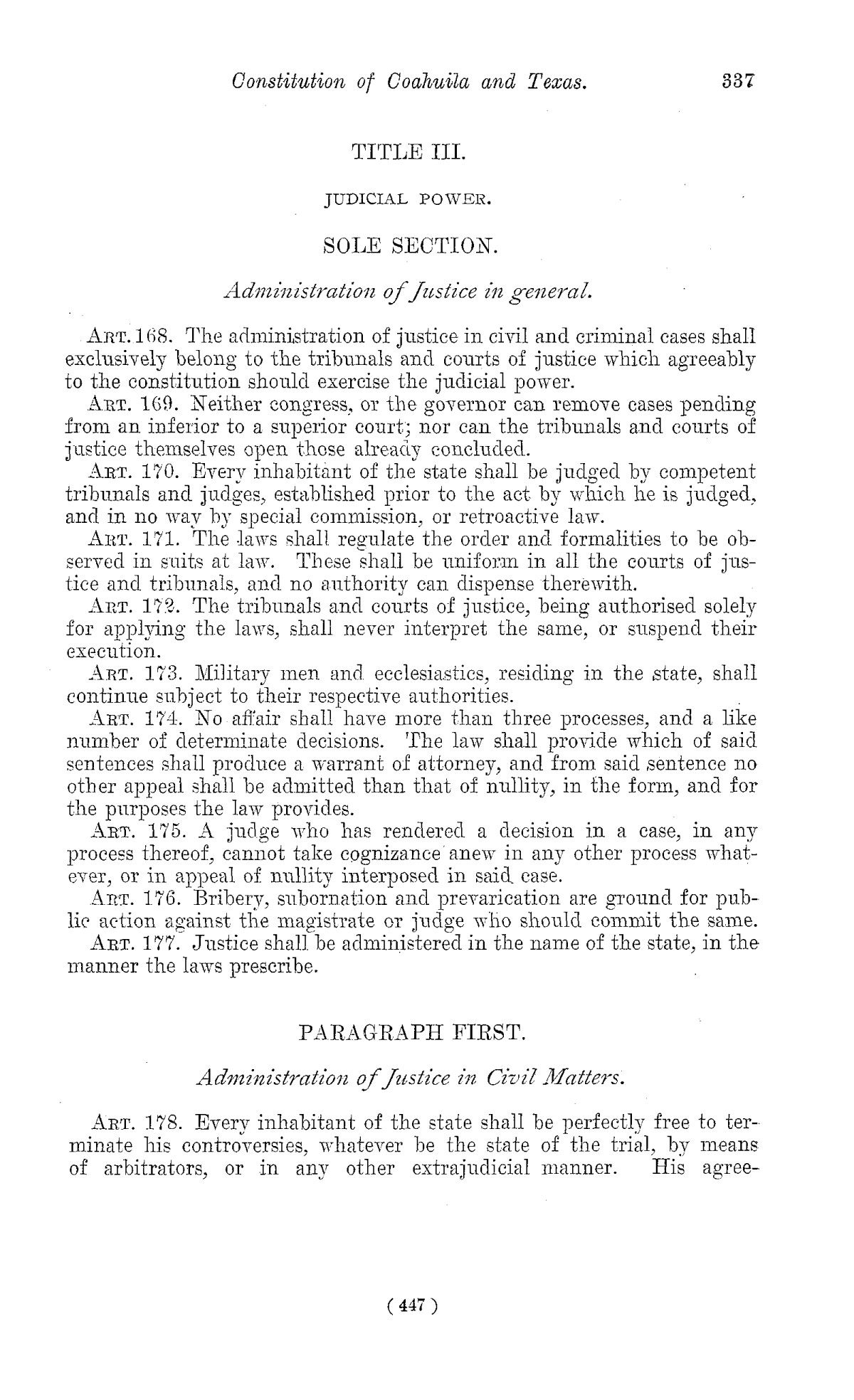 The Laws of Texas, 1822-1897 Volume 1                                                                                                      447