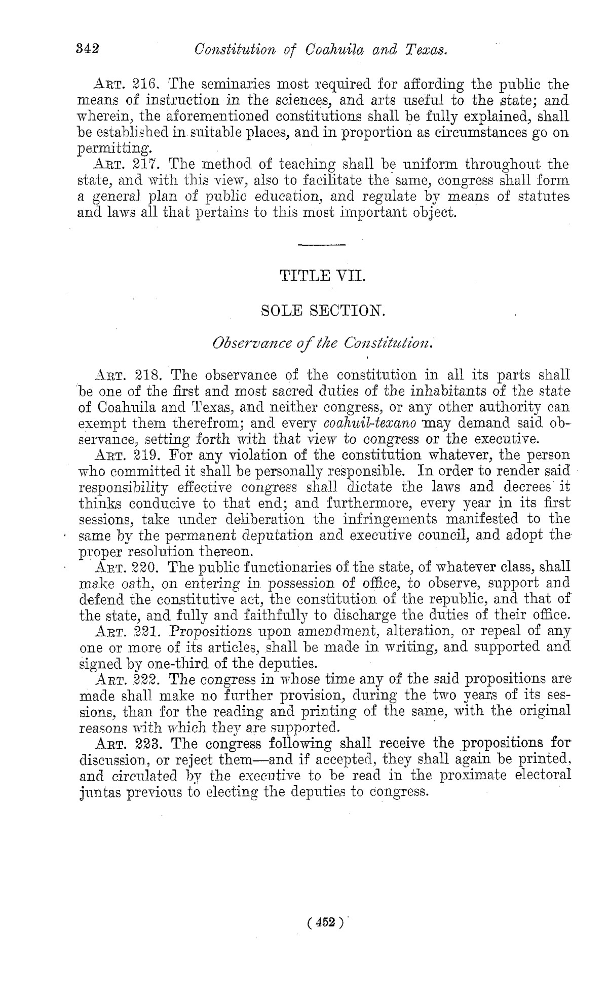 The Laws of Texas, 1822-1897 Volume 1                                                                                                      452