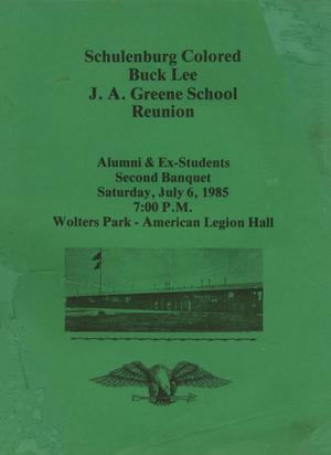 [Schulenburg Colored, Buck Lee, and J. A. Greene Schools Reunion Program Booklet]