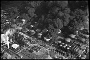 Primary view of object titled '[Photograph of Refinery Fire]'.