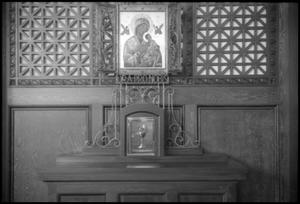 Primary view of object titled '[Photograph of Side Altar to the Virgin Mary]'.