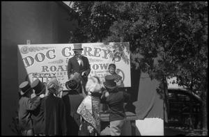 Primary view of object titled '[Photograph of Doc Carey's Road Show Scene]'.