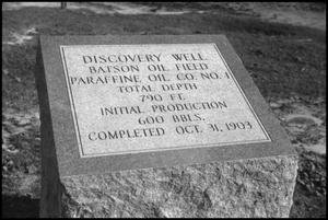 Primary view of object titled '[Photograph of Batson Oil Well Historical Marker]'.