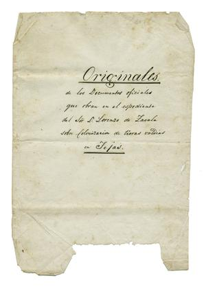 Primary view of object titled '[Front page to Zavala's Original Official Documents of the Texas colonization]'.