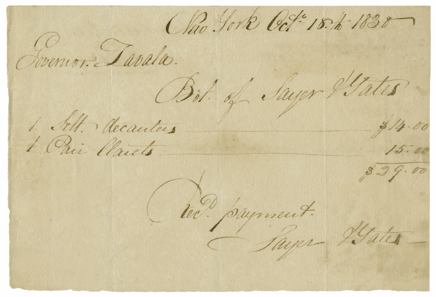 [A receipt for Zavala's purchase of Clarets and decanters, October 18, 1830]                                                                                                      [Sequence #]: 1 of 1