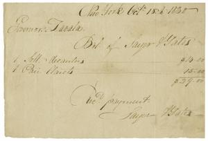 Primary view of object titled '[A receipt for Zavala's purchase of Clarets and decanters, October 18, 1830]'.