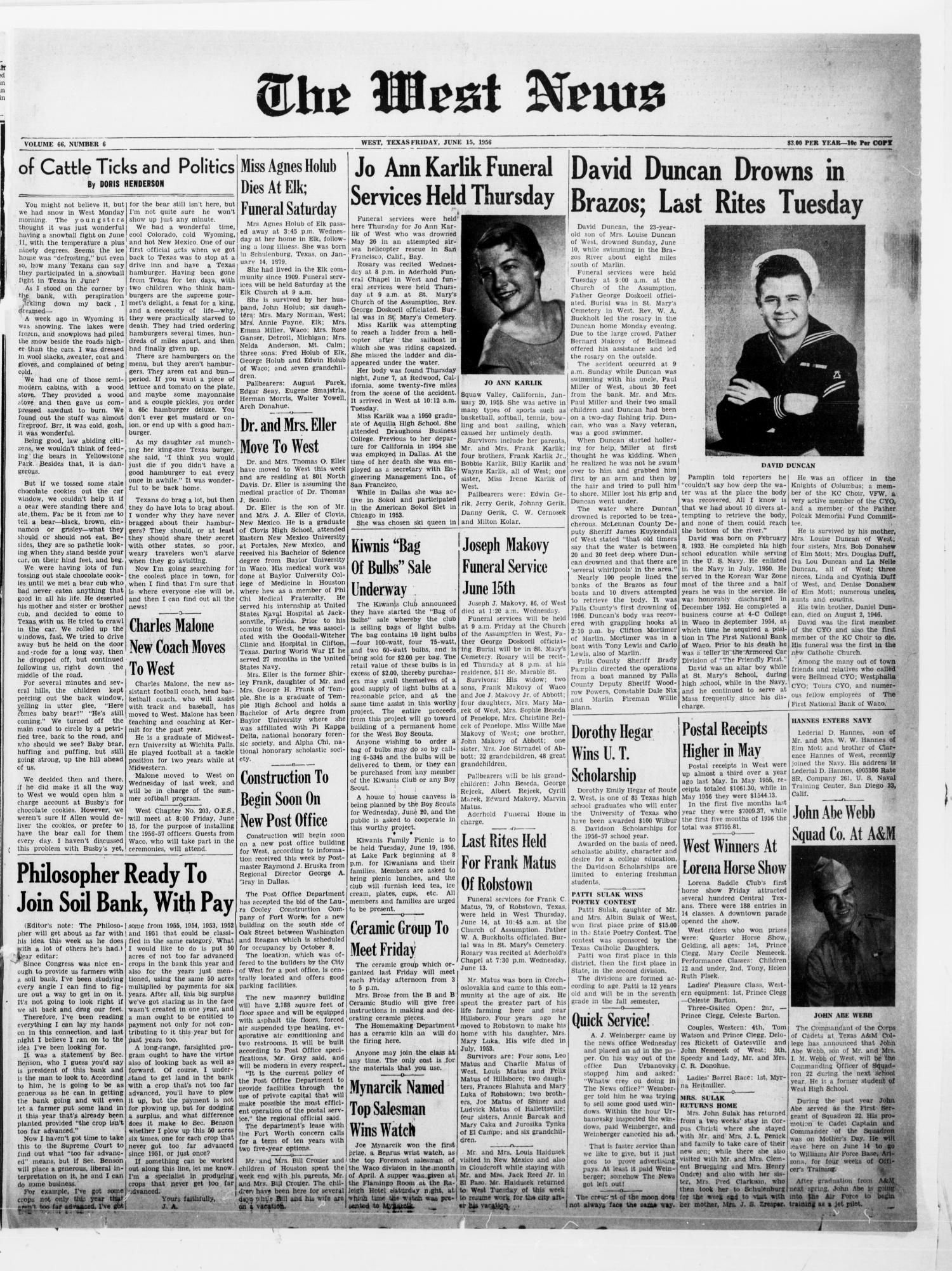 The West News (West, Tex.), Vol. 66, No. 6, Ed. 1 Friday, June 15, 1956                                                                                                      [Sequence #]: 1 of 6