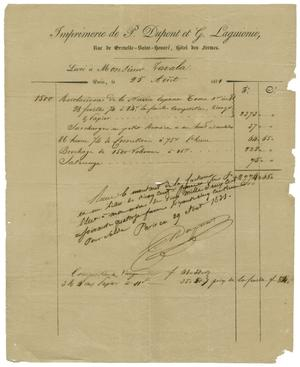 Primary view of object titled '[Receipt for Printing of de Zavala's book about the Mexican Revolution, 1831]'.
