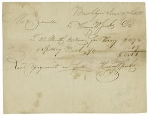 Primary view of object titled '[School tuition and spelling book receipt, June 27, 1832]'.