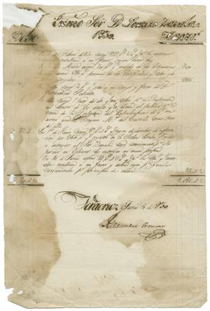 Primary view of object titled '[Letter from Alexandro Troncoso to Lorenzo de Zavala, June 16, 1830]'.