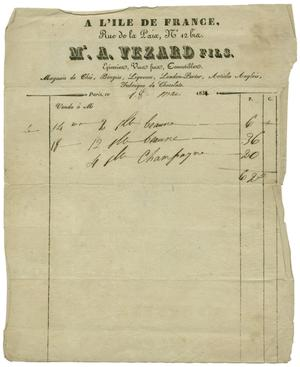 Primary view of object titled '[A French sales receipt for champagne, May 18, 1831]'.