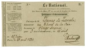 Primary view of object titled '[Receipt for a subscription to Le National, 1831]'.