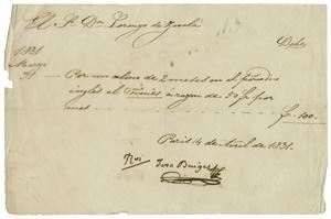 Primary view of object titled '[Paris receipt of sales from Jose Baiges to Lorenzo de Zavala, April 14, 1831]'.