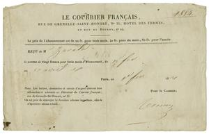 Primary view of object titled '[Receipt for a subscription to Le Courrier Francais]'.