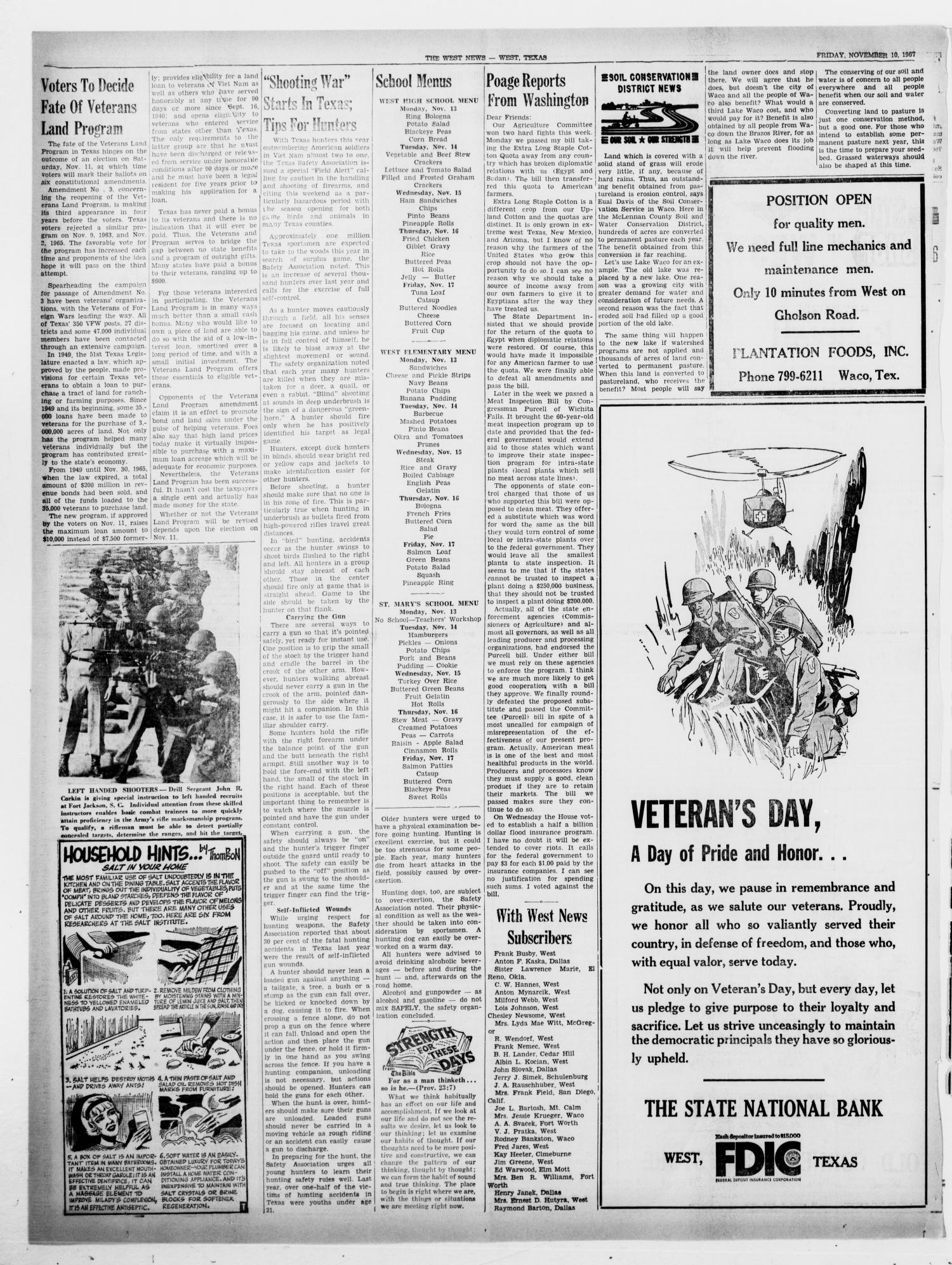 The West News (West, Tex.), Vol. 77, No. 29, Ed. 1 Friday, November 10, 1967                                                                                                      [Sequence #]: 4 of 8