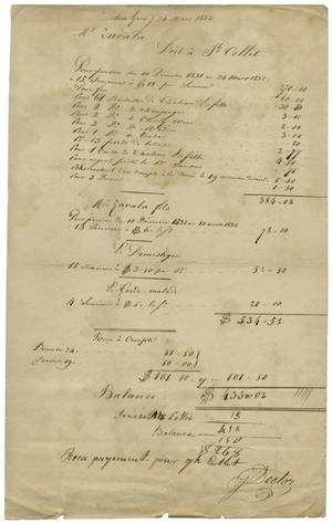 Primary view of object titled '[Receipt for 15 weeks of boarding in Paris, dated 24 March, 1832]'.