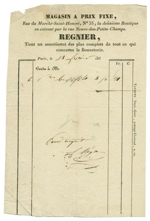 Primary view of object titled '[Receipt from a hosiery shop]'.