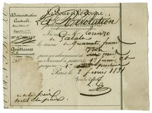 Primary view of object titled '[Receipt for a subscription to a French newspaper]'.