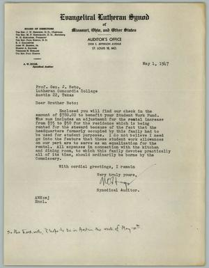 Primary view of object titled '[Letter from A. W. Huge to George J. Beto, May 1, 1947]'.