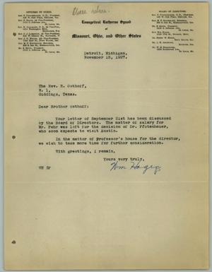 Primary view of object titled '[Letter from William Hagen to the Reverend R. Osthoff, November 15, 1927]'.