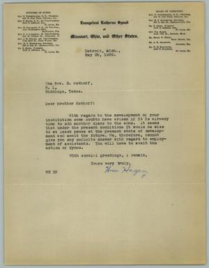 Primary view of object titled '[Letter from William Hagen to the Reverend R. Osthoff, May 28, 1929]'.