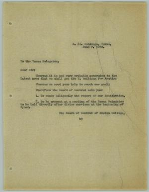 Primary view of object titled '[Letter from R. Osthoff to Texas Delegates, June 7, 1929]'.
