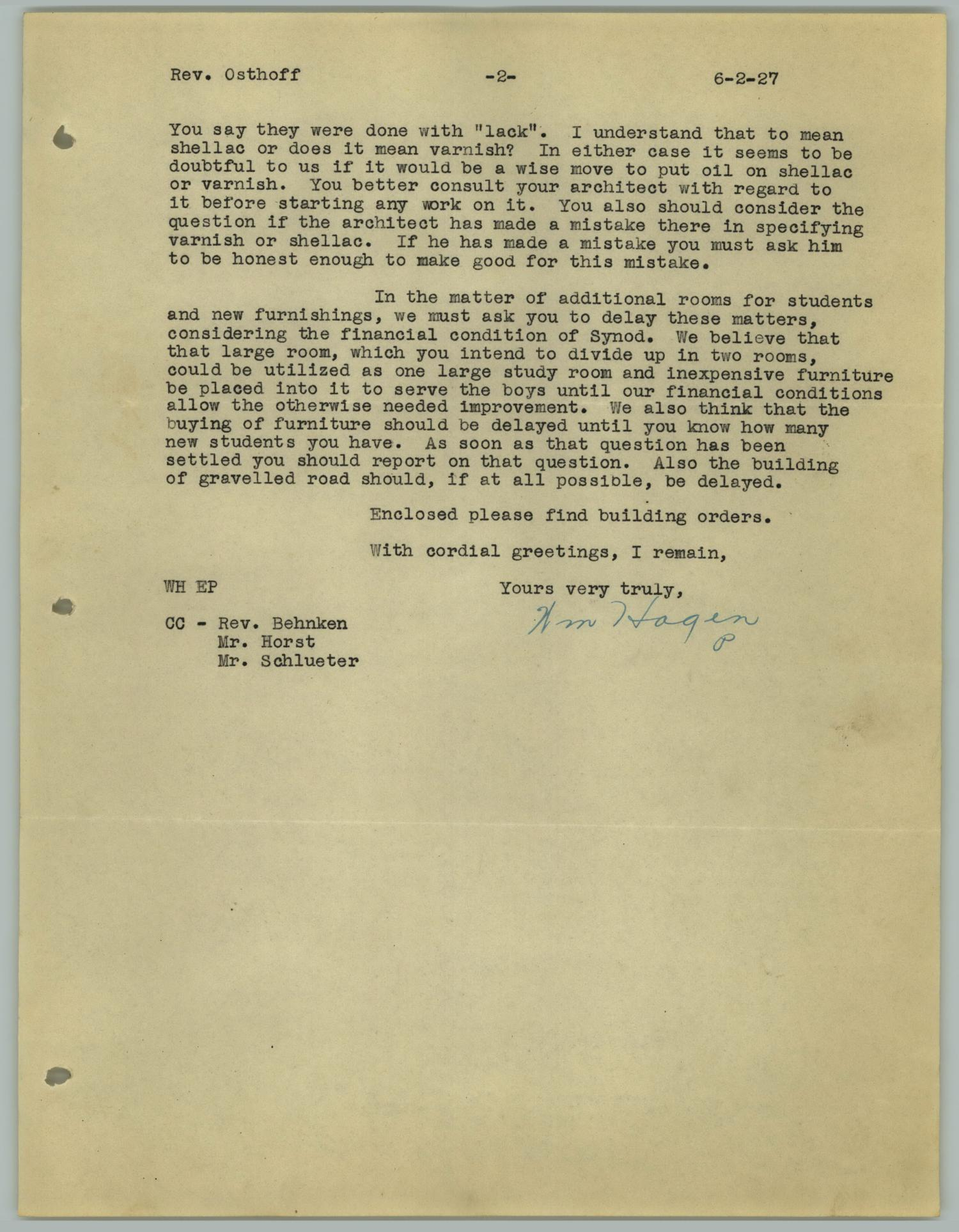 [Letter from William Hagen to the Reverend R. Osthoff, June 2, 1927]                                                                                                      [Sequence #]: 3 of 4
