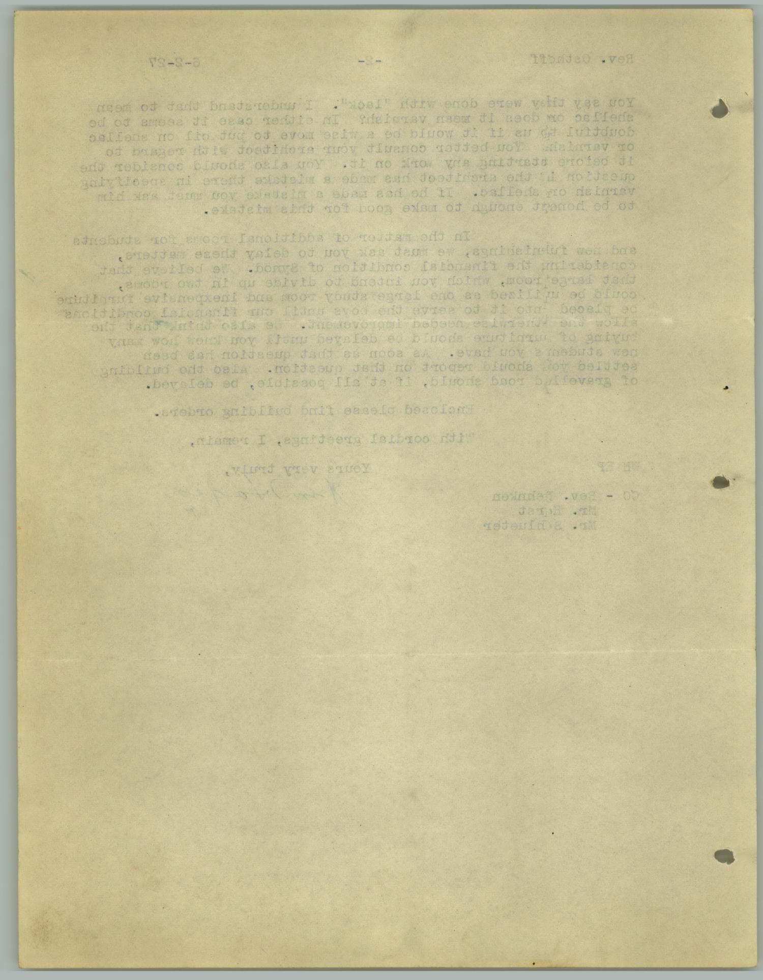 [Letter from William Hagen to the Reverend R. Osthoff, June 2, 1927]                                                                                                      [Sequence #]: 4 of 4