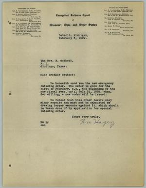 Primary view of object titled '[Letter from William Hagen to the Reverend R. Osthoff, February 5, 1929]'.
