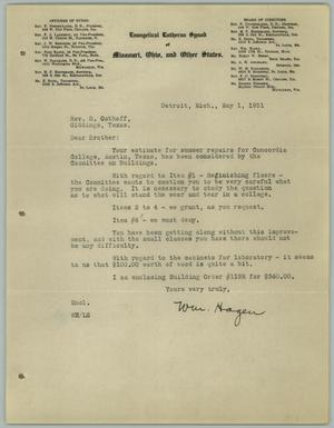 Primary view of object titled '[Letter from William Hagen to the Reverend R. Osthoff, May 1, 1931]'.