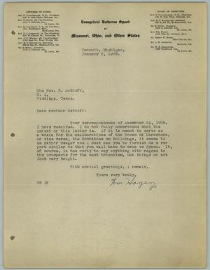 Primary view of object titled '[Letter from William Hagen to the Reverend R. Osthoff, January 2, 1929]'.