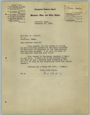 Primary view of object titled '[Letter from William Hagen to the Reverend R. Osthoff, December 29, 1926]'.