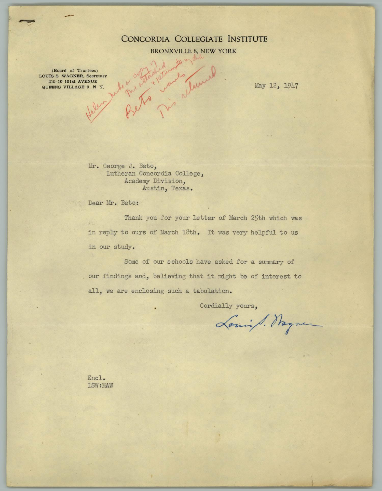 [Letter from Louis Wagner to George J. Beto, May 12, 1947]                                                                                                      [Sequence #]: 1 of 4