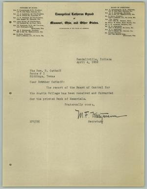 Primary view of object titled '[Letter from M. F. Kretzmann to R. Osthoff, April 4, 1932]'.