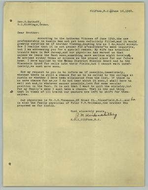 Primary view of object titled '[Letter from J. M. Weidenschilling to R. Osthoff, June 16, 1928]'.