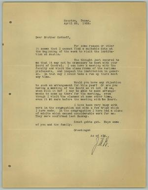 Primary view of object titled '[Letter from J. W. Behnken to R. Osthoff, April 28, 1932]'.