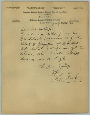 Primary view of object titled '[Letter from H. Fehr to the Reverend R. Osthoff, July 25, 1931]'.