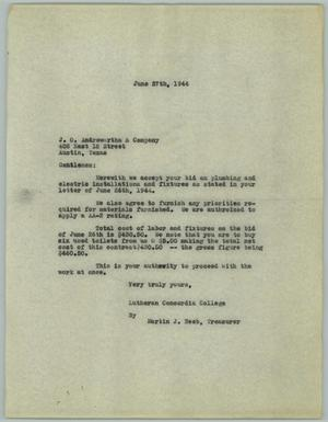 Primary view of object titled '[Letter from Martin J. Neeb to J. O Andrewartha & Company, June 27, 1944]'.