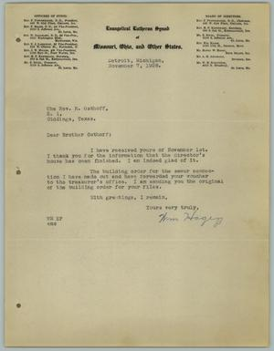 Primary view of object titled '[Letter from William Hagen to the Reverend R. Osthoff, November 7, 1928]'.