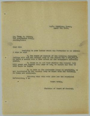 Primary view of object titled '[Letter from R. Osthoff to Thomas P. Whitis, April 23, 1929]'.