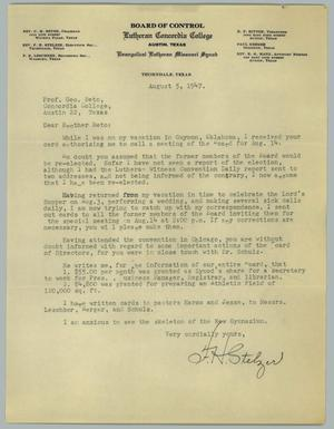 Primary view of object titled '[Letter from F. H. Stelzer to George J. Beto, August 5, 1947]'.