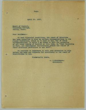 Primary view of object titled '[Letter from M. F. Kretzmann to the Concordia College Board of Control, April 23, 1927]'.