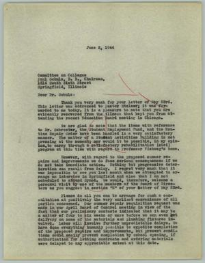 Primary view of object titled '[Letter to Paul Schulz, June 2, 1944]'.