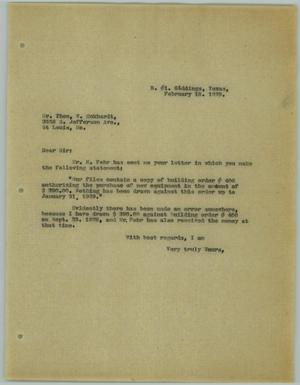 Primary view of object titled '[Letter from R. Osthoff to Theo W. Eckhardt, February 18, 1929]'.